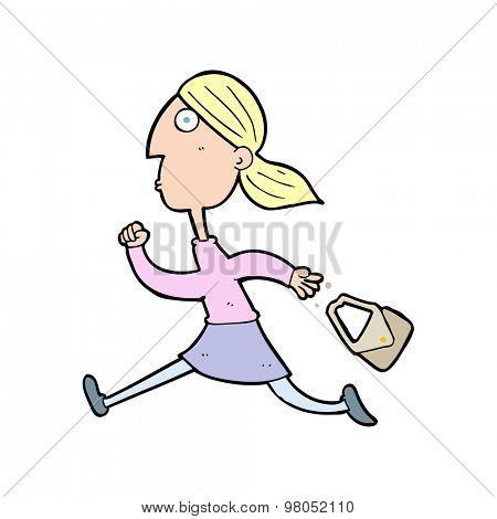 cartoon running woman stressed