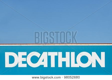Decathlon sign on a wall