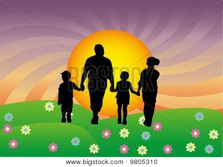 Happy family walking