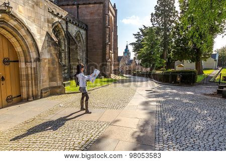 Tourist walking in historic Stirling