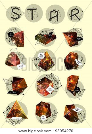 Abstract polygonal label design. Elements of astronomy