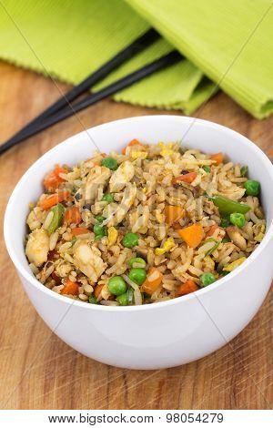 Egg Fried Chicken Rice Bowl