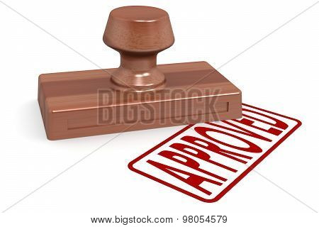 Wooden Stamp Approved With Red Text
