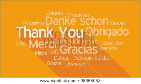 THANK YOU in different languages, words collage vector illustration.