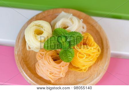 Fermented Rice Flour Noodles/ Kanom Jeen Are Fresh Rice Noodles In Thai Cuisine Which Are Made From