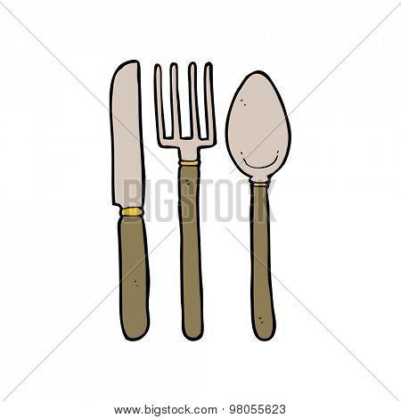 cartoon knife fork spoon