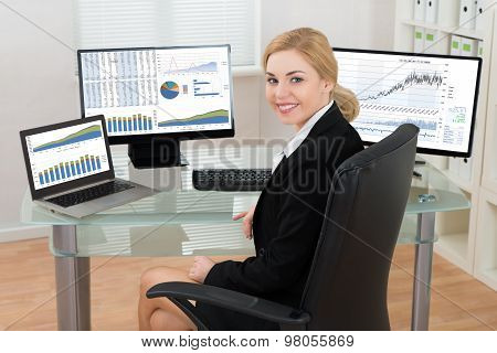 Businesswoman With Computers Display Showing Graphs