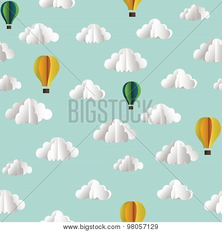 Paper Seamless Pattern With Clouds And Hot Air Balloons