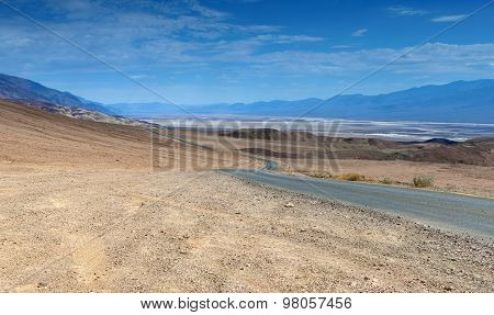 Traditional American Scenic Long Highway In The Mountains Of Death Valley National Patk In Californi