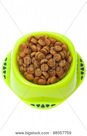dog food in bowl on a white background