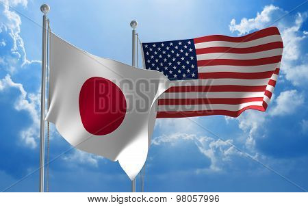 Japanese and United States flags flying together for diplomatic talks