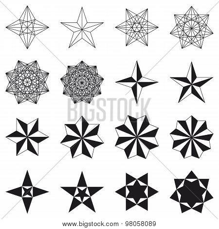 Set of stars. Geometric shapes. Vector