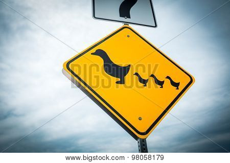 Crossing Ducks Road Sign