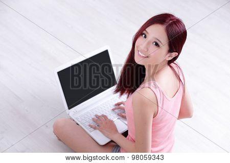 Woman Smile Using Laptop