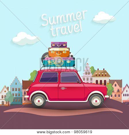 Travel by car. Flat design.