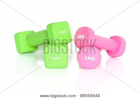 Green And Pink Fitness Dumbbells