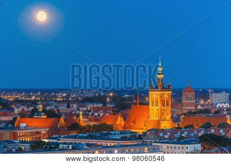 Church of Saint Catherine at night, Gdansk, Poland