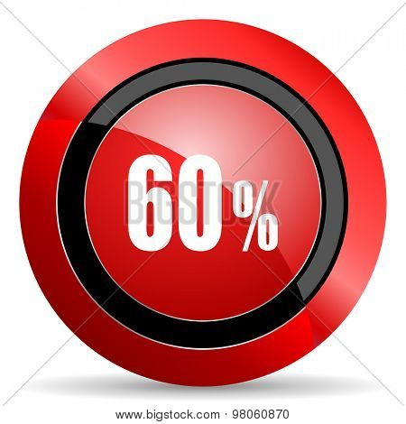 60 percent red glossy web icon
