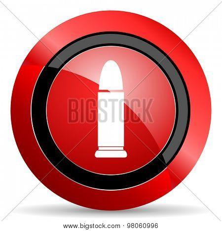 ammunition red glossy web icon