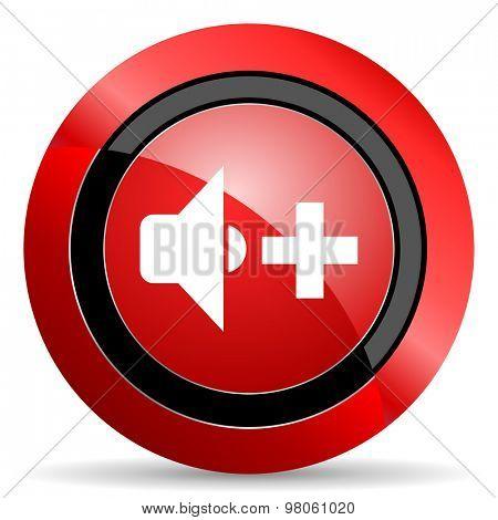 speaker volume red glossy web icon