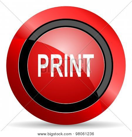 print red glossy web icon