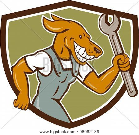 Dog Mechanic Running With Spanner Crest Cartoon