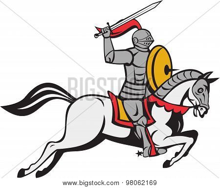 Knight Sword Shield Steed Attacking Cartoon