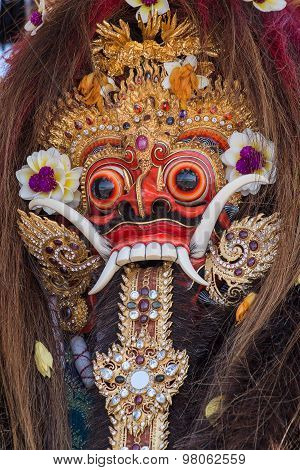 Closeup Of Traditional Balinese Barong Mask In Indonesia