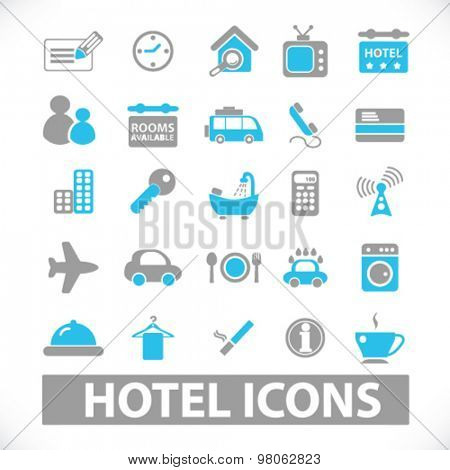 hotel, motel icons, signs, illustrations set, vector