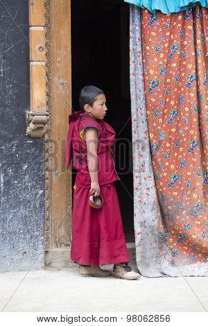 Tibetan Buddhist Young Monk In The Monastery Of Lamayuru, Ladakh, India