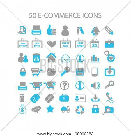 ecommerce, shopping, shop, store icons, signs, illustrations set, vector