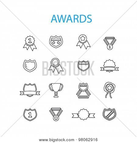 awards, trophy, prize achievement, victory black isolated icons, signs, illustration set, vector on white background for web, application