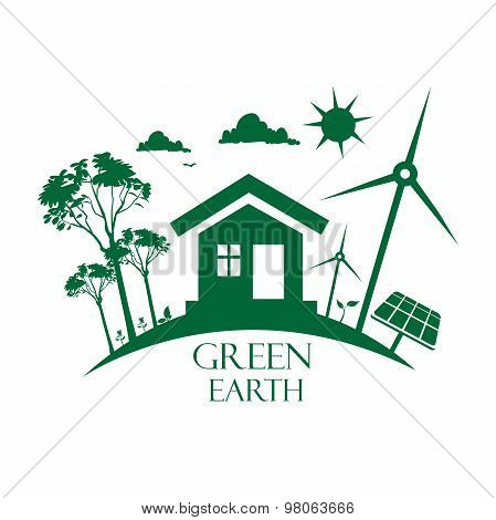 eco planet, green Earth concept in flat style, vector, illustration