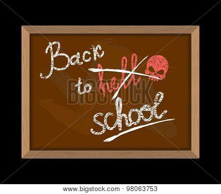 Back To Hell (crossed Out In School) And Skull. Hooligan Inscription In Chalk On Blackboard. School