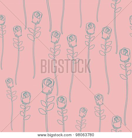 Vintage Roses On Pink Background Seamless Pattern. Vector Retro Floral Background