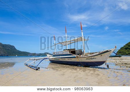 Boat On The Beach. El Nido, Philippines
