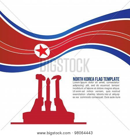 Abstract north korea flag wave and  North Korean Workers' Party monument Temple