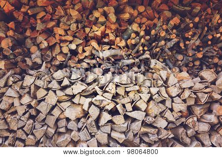 Pile Of Firewood, Vintage Effect