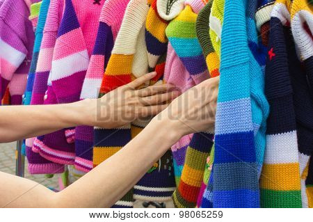Shopping Clothes On Stall At The Bazaar