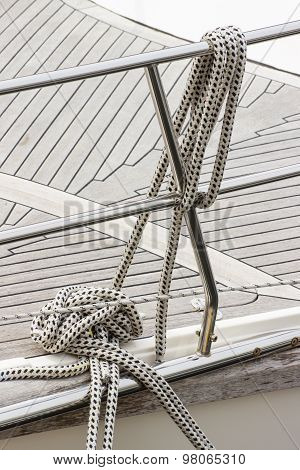 Yachting, Thick Ropes On Sailboat