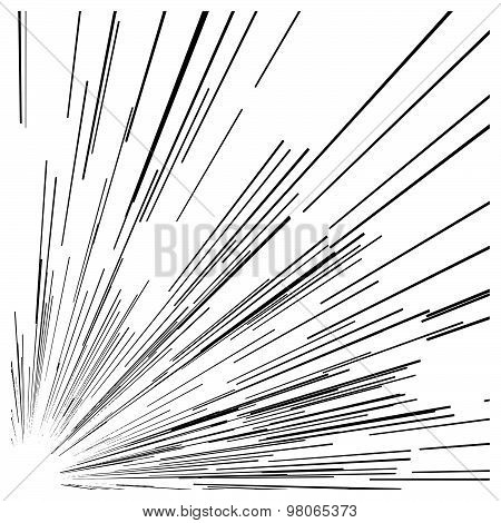 Illustration Vector Abstract Speed Motion Black Lines From The Corner Of The Picture.