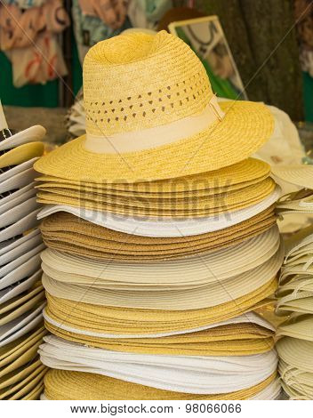 Collection Of Handmade Straw Hats On Stall