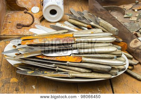 Heap Of Old Rusty Knives For Sale At The Bazaar