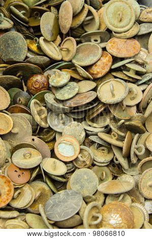 Heap Of Old Rusty Buttons For Sale At The Bazaar