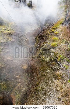 Natural steam rising from volcanic steam vents in the earth at Volcano National Park, Kilauea Hawaii.S