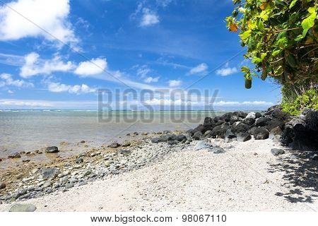 A beautiful white sand beach with clear blue water on a remote beach in Kauai Hawaii.