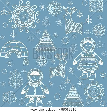 Winter abstract wallpaper with Eskimo, firs and igloo