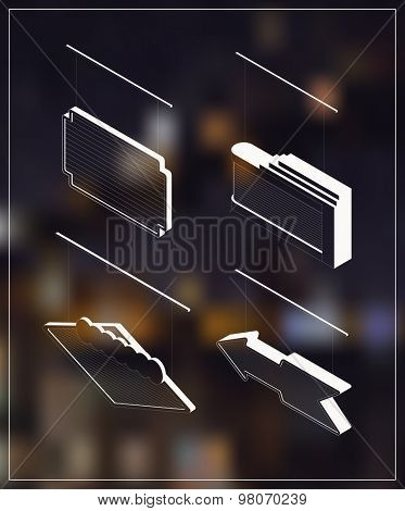 Isometric marquee banners. White drawing on dark background.