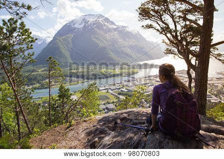 Tourist Girl And Romsdalsfjorden