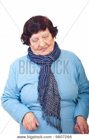 Sad Elderly Woman Looking Down